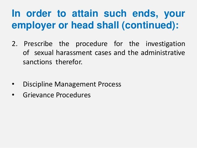 Disciplinary investigation process of sexual harassment