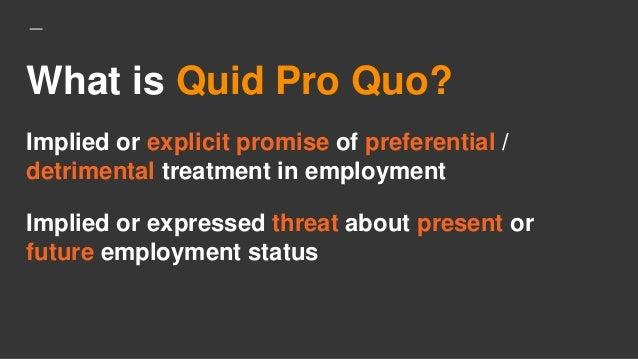 Significato quid pro quo sexual harassment