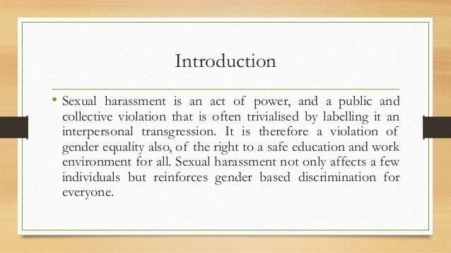 Introduction Of Sexual Harassment