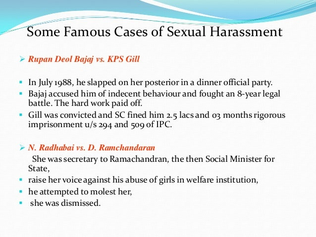 Famous sexual harassment cases