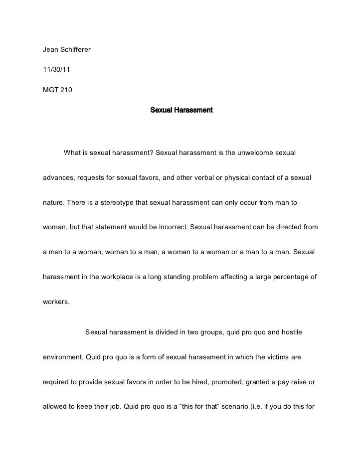 Harassment essay