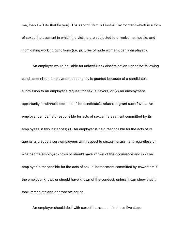 Sexual Harassment Essay Paper