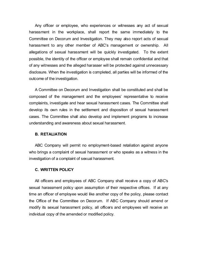 Corporate sexual harassment policies