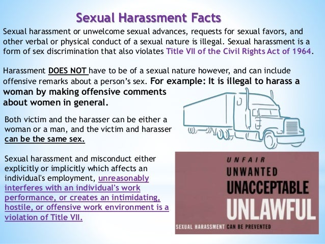 Facts about title vii sexual harassment