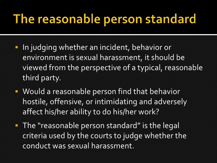 Reasonable person sexual harassment