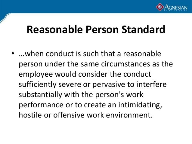 Reasonable person standard sexual harassment