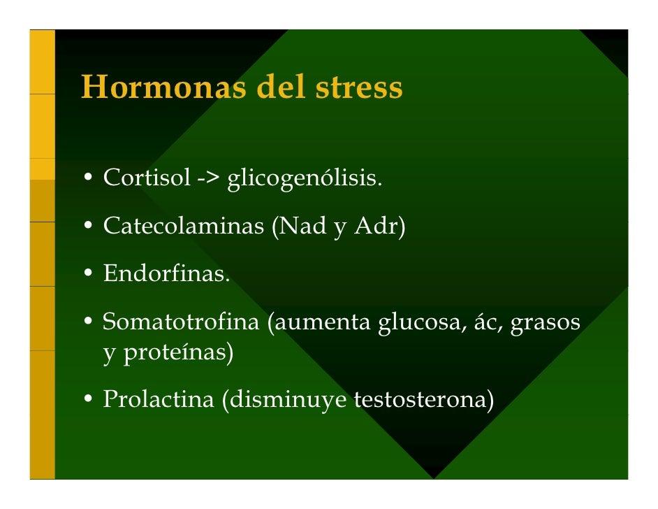 Hormonas del stress  • Cortisol -> glicogenólisis. • Catecolaminas (Nad y Adr) • Endorfinas. • Somatotrofina (aumenta gluc...