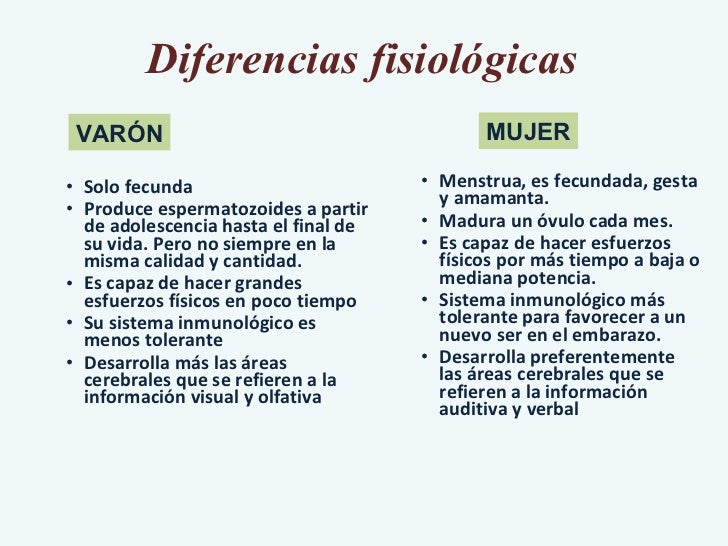 Diferencias fisiológicas <ul><ul><ul><li>Solo fecunda </li></ul></ul></ul><ul><ul><ul><li>Produce espermatozoides a partir...
