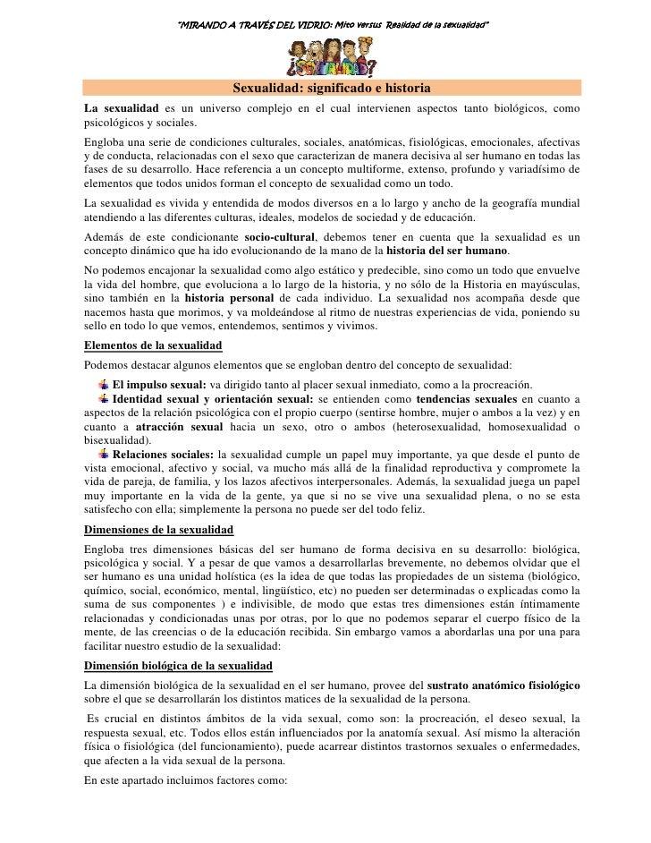 """""""MIRANDO A TRAVÉS DEL VIDRIO: Mito versus Realidad de la sexualidad""""                                          VIDRIO: Mito..."""