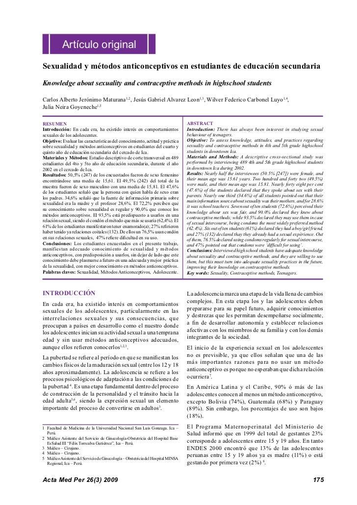 Artículo originalSexualidad y métodos anticonceptivos en estudiantes de educación secundariaKnowledge about sexuality and ...