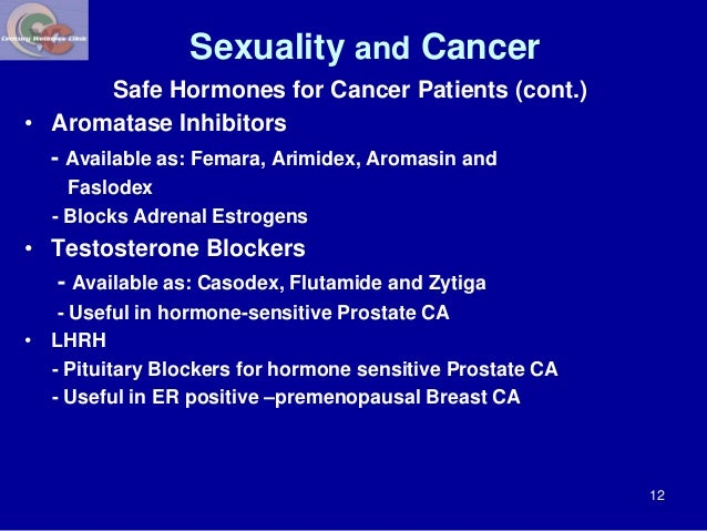 Sexuality and Cancer  Safe Hormones for Cancer Patients (cont.)  • Aromatase Inhibitors  - Available as: Femara, Arimidex,...