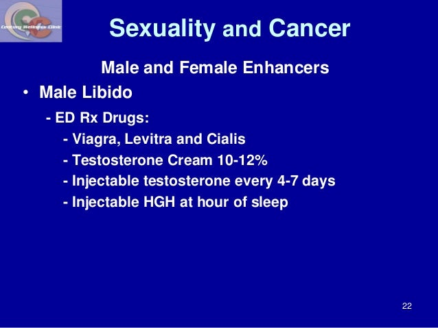 Sexuality and Cancer  Male and Female Enhancers  • Male Libido  - ED Rx Drugs:  - Viagra, Levitra and Cialis  - Testostero...