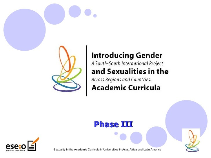Phase III Sexuality in the Academic Curricula in Universities in Asia, Africa and Latin America