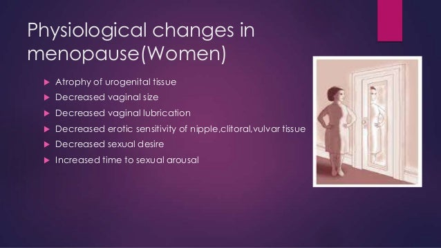 Physiological changes in menopause(Women)   Atrophy of urogenital tissue    Decreased vaginal size    Decreased vaginal...
