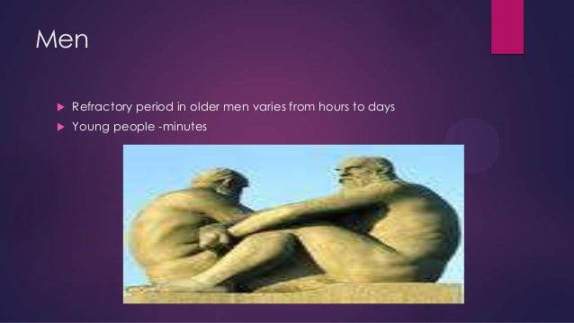 Men   Refractory period in older men varies from hours to days    Young people -minutes