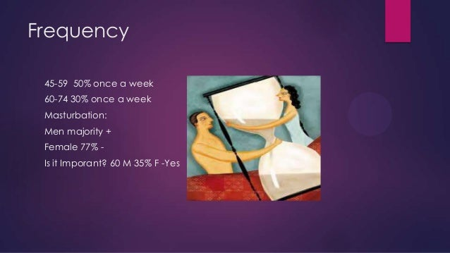 Frequency 45-59 50% once a week 60-74 30% once a week Masturbation:  Men majority + Female 77% Is it Imporant? 60 M 35% F ...