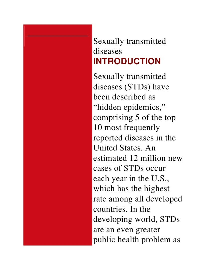 An analysis and an introduction to sexually transmitted infections and diseases