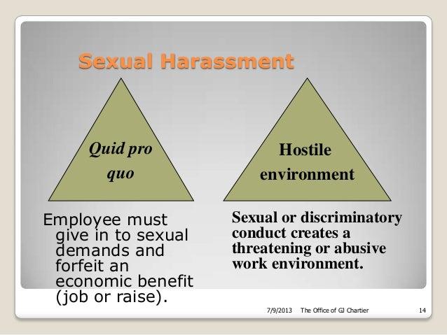 Sexual harassment quid pro quo and hostile environment in the workplace