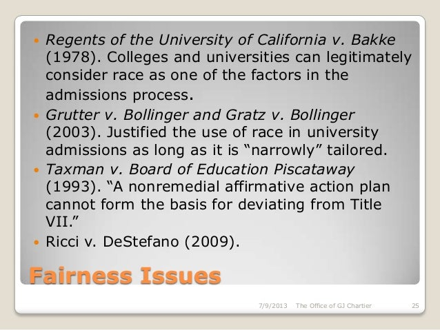 an introduction to the regents of university of california vs bakke I introduction the supreme court first considered an affirmative action program in regents of the university of california at davis v bakke18 allen.