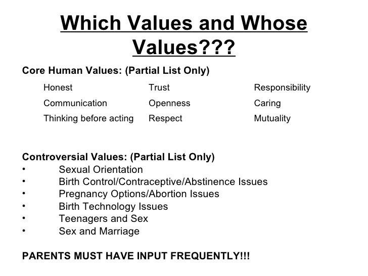 Values of sex