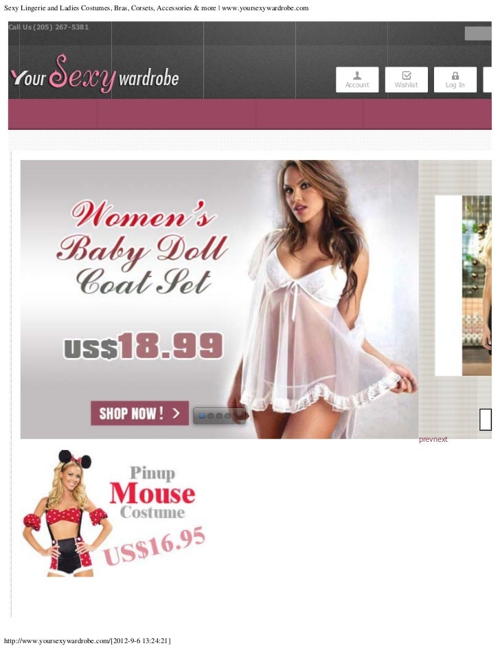 Sexy Lingerie and Ladies Costumes, Bras, Corsets, Accessories & more | www.yoursexywardrobe.com Call Us (205) 267-5381    ...