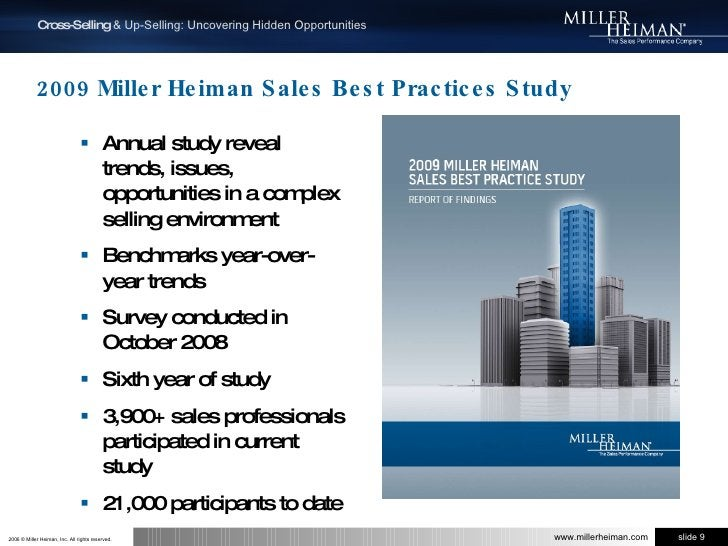 2009 Miller Heiman Sales Best Practices Study<br />Annual study reveal trends, issues, opportunities in a complex selling ...