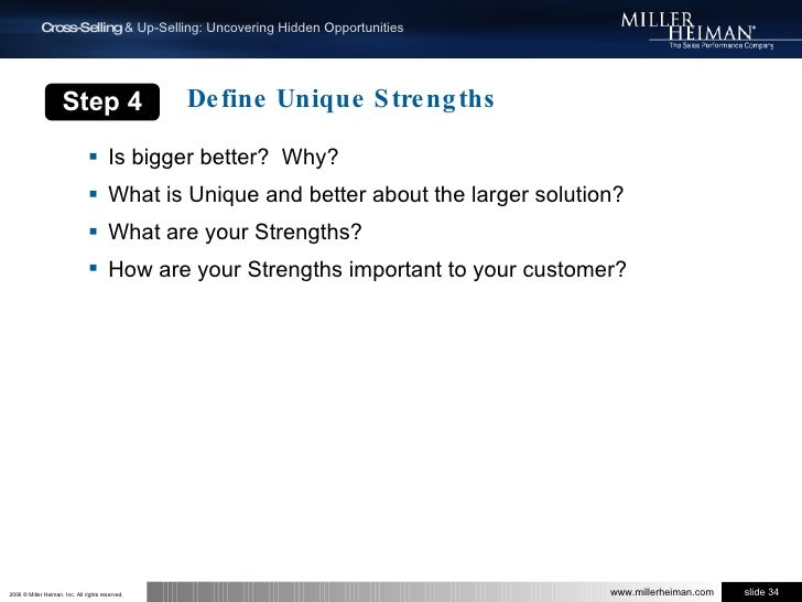 Is bigger better?  Why?<br />What is Unique and better about the larger solution? <br />What are your Strengths?<br />How ...