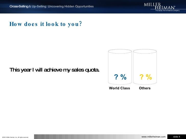 How does it look to you?<br />This year I will achieve my sales quota.<br />? %<br />? %<br />  Others<br /> World Class<b...