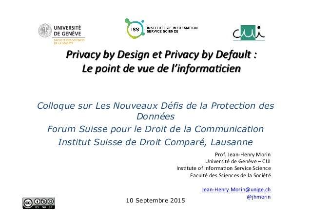 Prof.  Jean-‐Henry  Morin   Université  de  Genève  –  CUI   Ins;tute  of  Informa;on  Service  S...