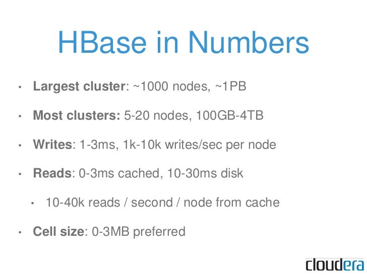 HBase in Numbers<br />Largest cluster: ~1000 nodes, ~1PB<br />Most clusters: 5-20 nodes, 100GB-4TB<br />Writes: 1-3ms, 1k-...