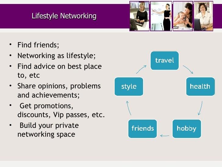<ul><li>Find friends; </li></ul><ul><li>Networking as lifestyle; </li></ul><ul><li>Find advice on best place to, etc </li>...