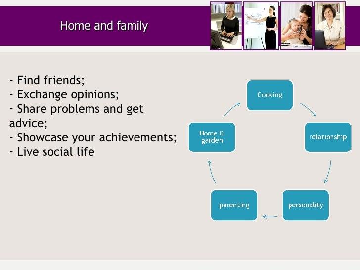 Home and family <ul><li>Find friends; </li></ul><ul><li>Exchange opinions; </li></ul><ul><li>Share problems and get advice...