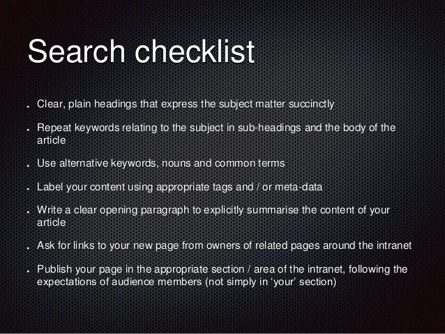 Creating  intranet content  Effective headlines  Images  Links  Layout  Search  Writing  Documents vs pages  Engagement  C...