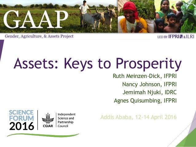 Assets: Keys to Prosperity Ruth Meinzen-Dick, IFPRI Nancy Johnson, IFPRI Jemimah Njuki, IDRC Agnes Quisumbing, IFPRI Addis...