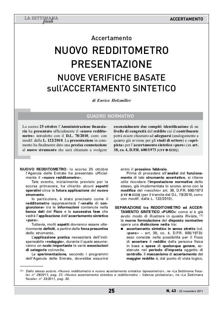 ACCERTAMENTO                                              Accertamento                       NUOVO REDDITOMETRO           ...