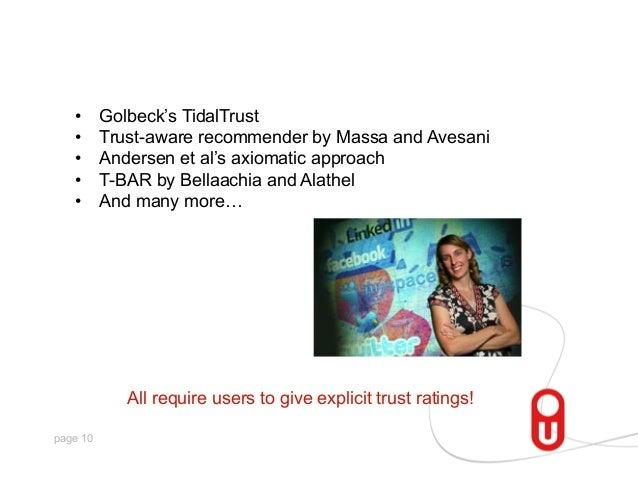 • • • • •  Golbeck's TidalTrust Trust-aware recommender by Massa and Avesani Andersen et al's axiomatic approach T-BA...