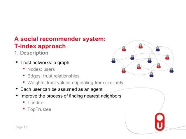 A social recommender system: T-index approach 1. Description  • Trust networks: a graph • Nodes: users • Edges: trust r...