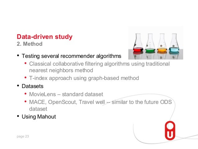 Data-driven study 2. Method  • Testing several recommender algorithms • Classical collaborative filtering algorithms usi...