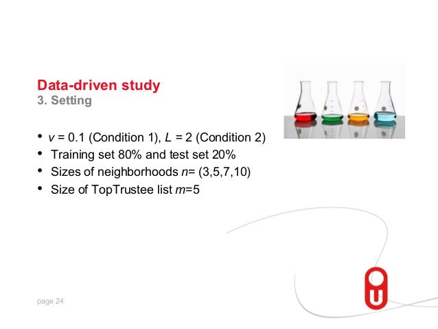 Data-driven study 3. Setting  • v = 0.1 (Condition 1), L = 2 (Condition 2) • Training set 80% and test set 20% • Sizes ...