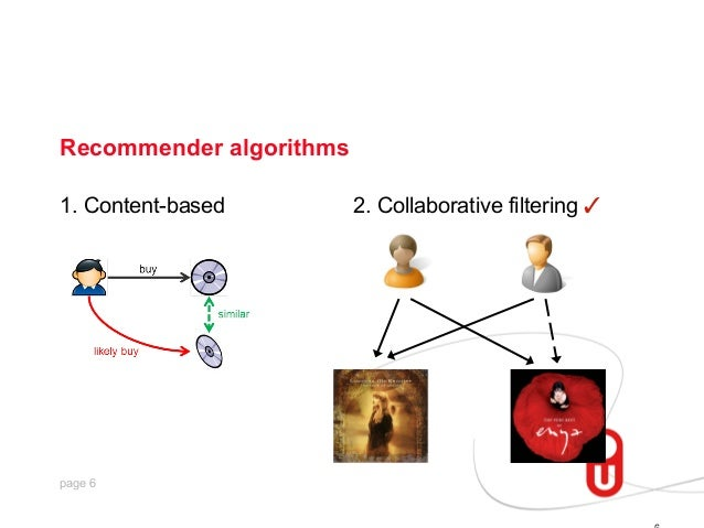 Recommender algorithms 1. Content-based  page 6  2. Collaborative filtering ✓