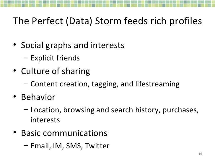 The Perfect (Data) Storm feeds rich profiles <ul><li>Social graphs and interests </li></ul><ul><ul><li>Explicit friends </...