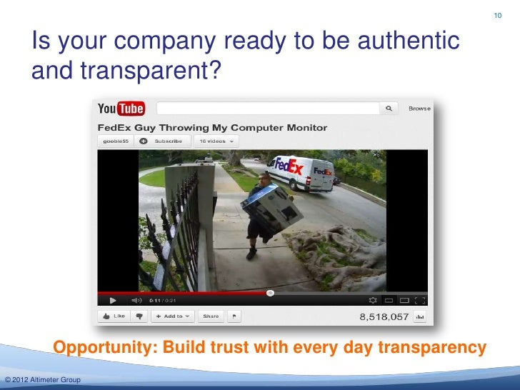10       Is your company ready to be authentic       and transparent?             Opportunity: Build trust with every day ...