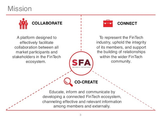 3 Mission CONNECTCOLLABORATE CO-CREATE Educate, inform and communicate by developing a connected FinTech ecosystem, channe...