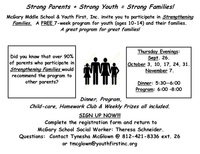 Strong Parents + Strong Youth = Strong Families! McGary Mddle School & Youth First, Inc. invite you to participate in Stre...