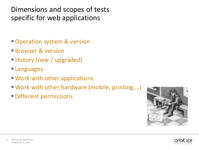 22 September, 2010 Testing web applications11 Dimensions and scopes of tests specific for web applications Operation syst...