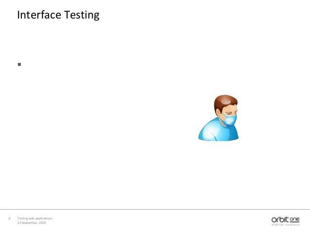 22 September, 2010 Testing web applications6 Interface Testing 