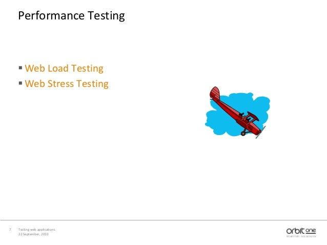 22 September, 2010 Testing web applications7 Performance Testing Web Load Testing Web Stress Testing