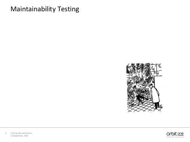 22 September, 2010 Testing web applications9 Maintainability Testing
