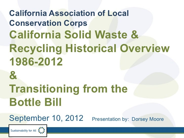 California Association of LocalConservation CorpsCalifornia Solid Waste &Recycling Historical Overview1986-2012&Transition...