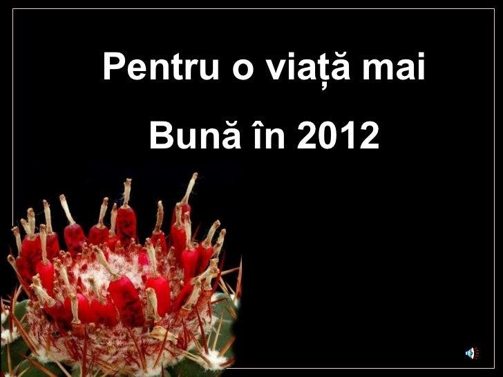 Pentru o vi aţă mai Bună în  2012